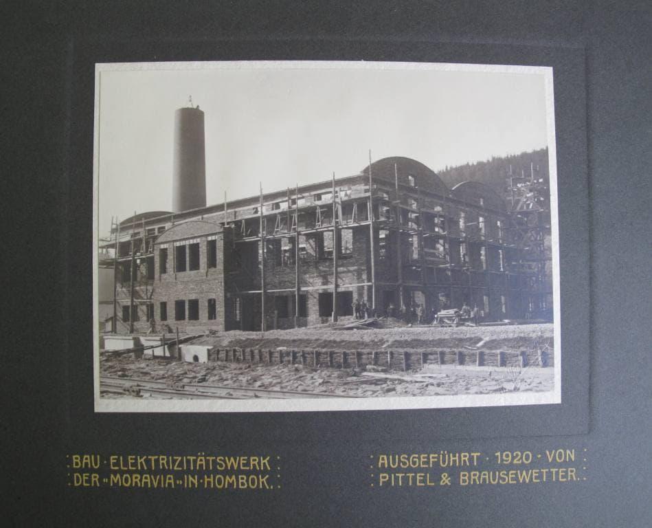 Stavba elektrárny Moravie v Hlubočkách (1920, foto: Adolf Wasservogel)