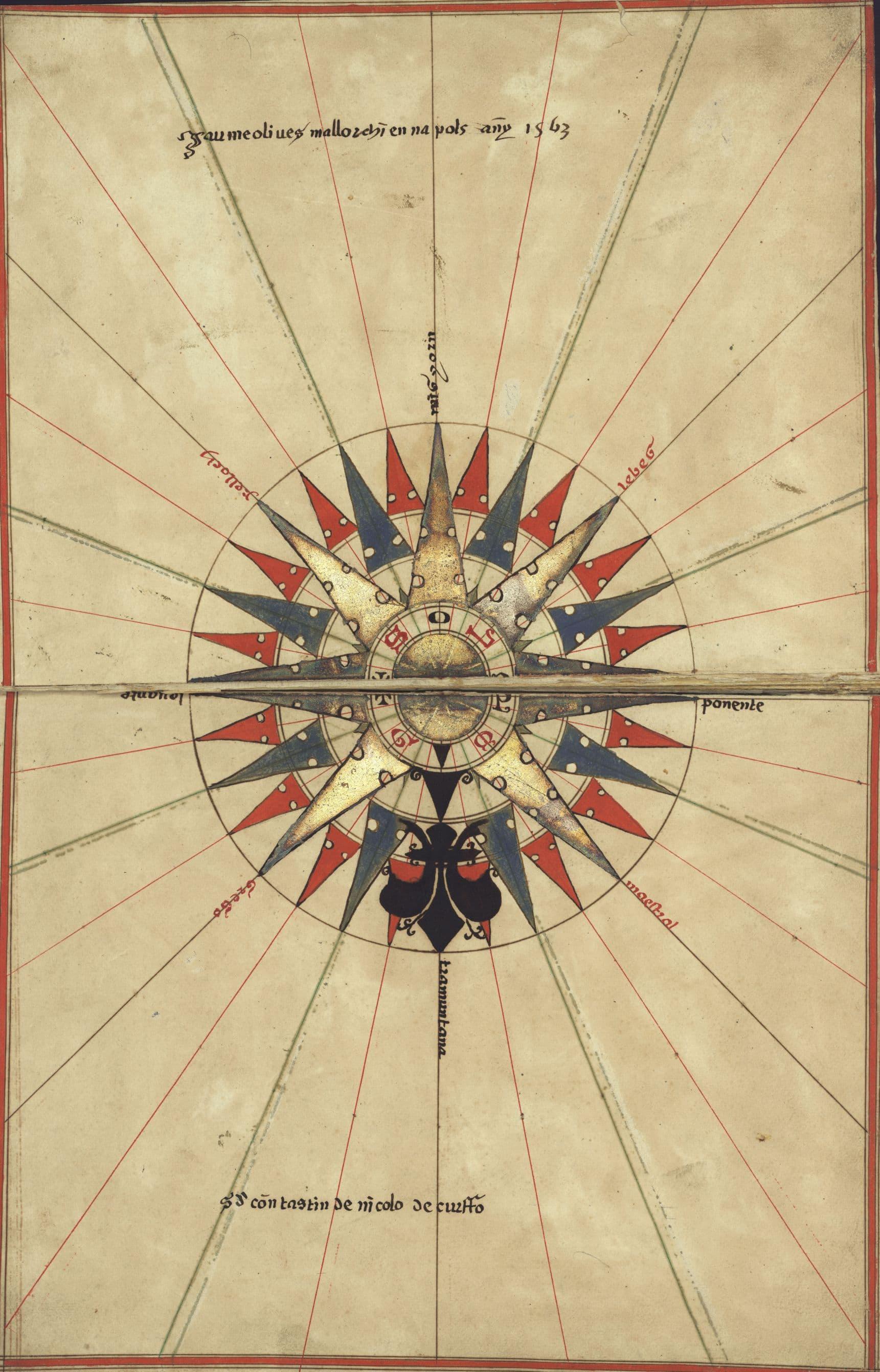 Námořní atlas z roku 1563 - růžice