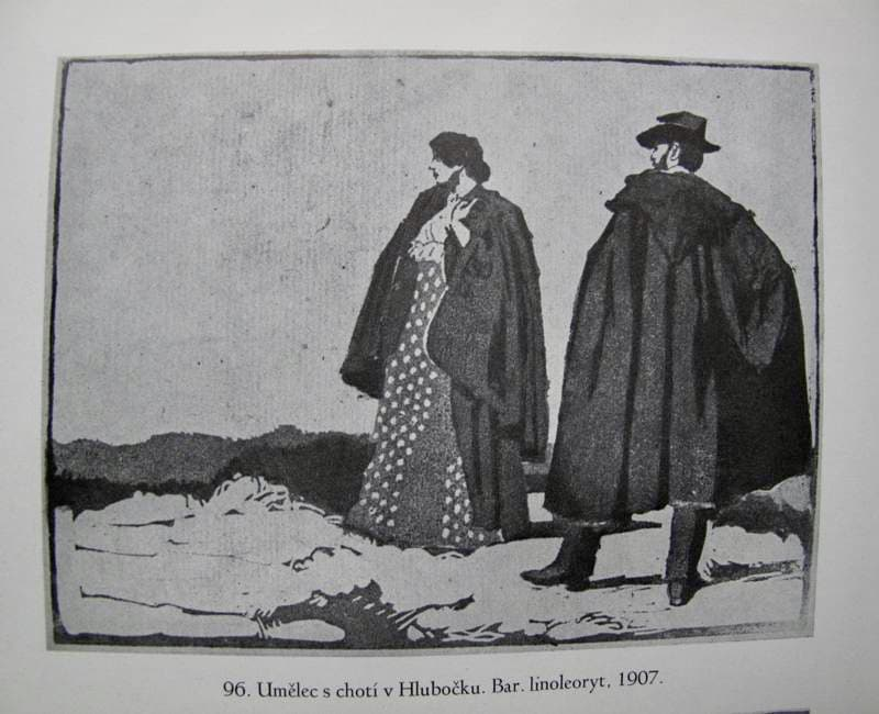 Adolf Kašpar – Umělec s chotí v Hlubočku (1907)