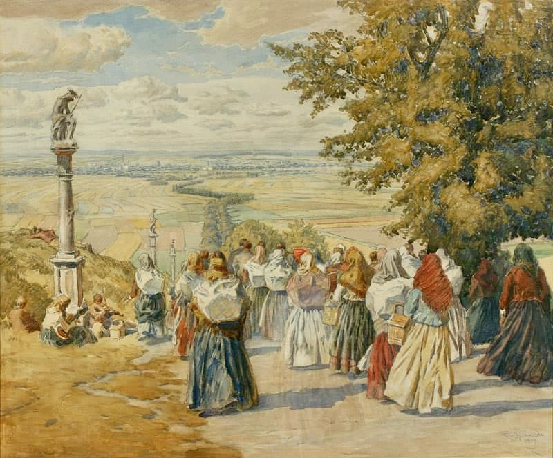 Adolf Kašpar – Pouť na Svatém Kopečku (1909)