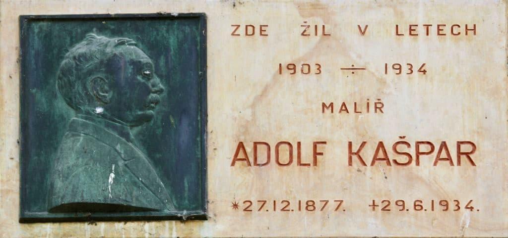 Pamětní deska Adolfa Kašpara v Praze na Kampě