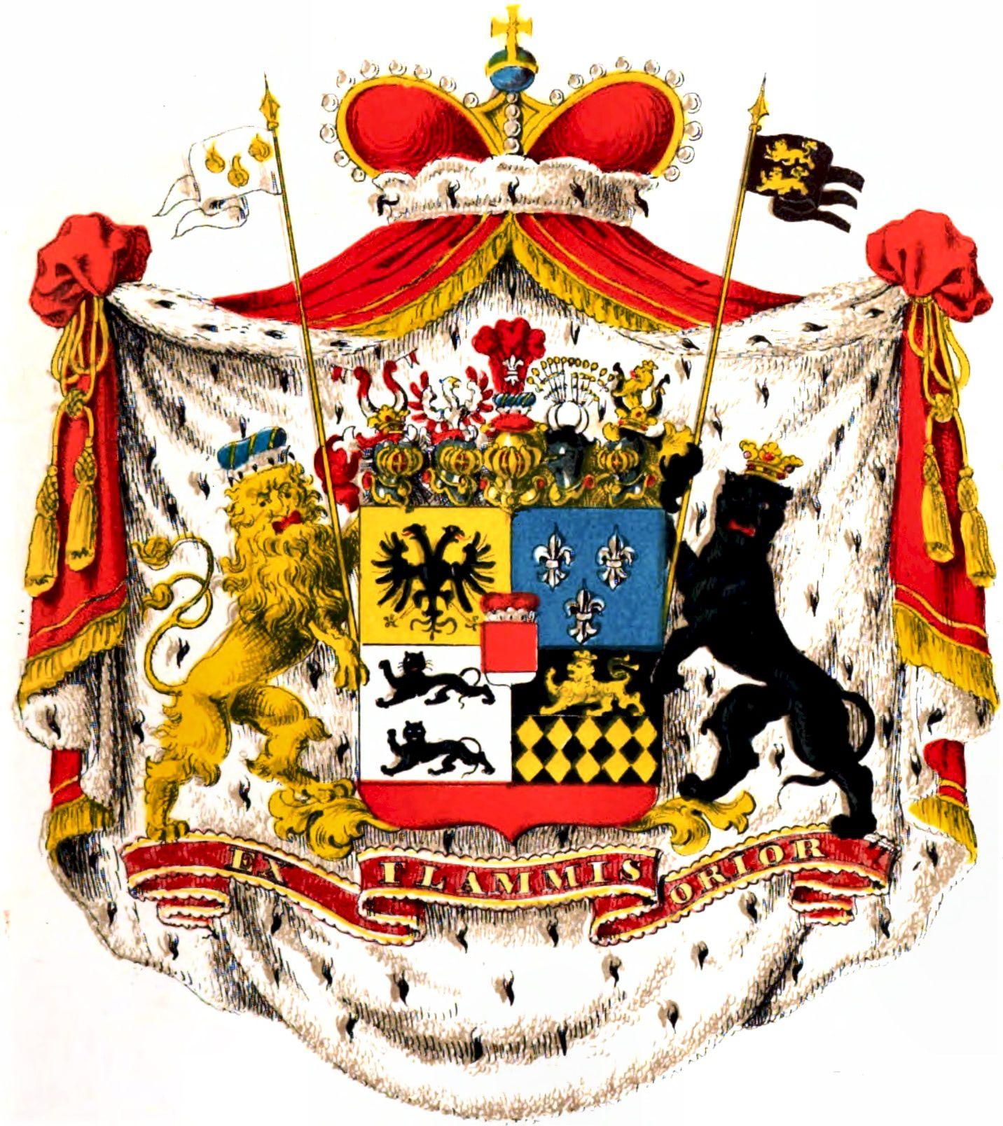 Erb rodu Hohenlohe se štítonoši, plastem a korunou