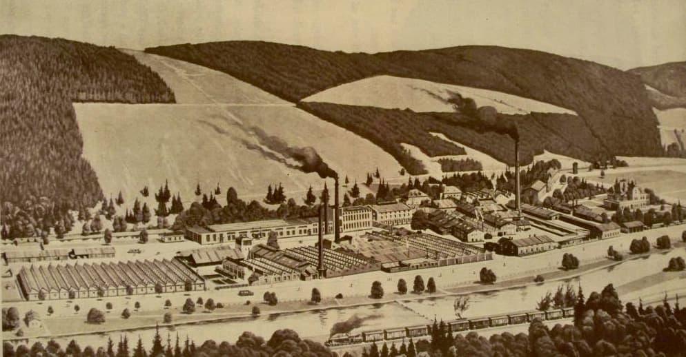 Továrna v Hlubočkách – Hřebíkové (výřez z veduty)