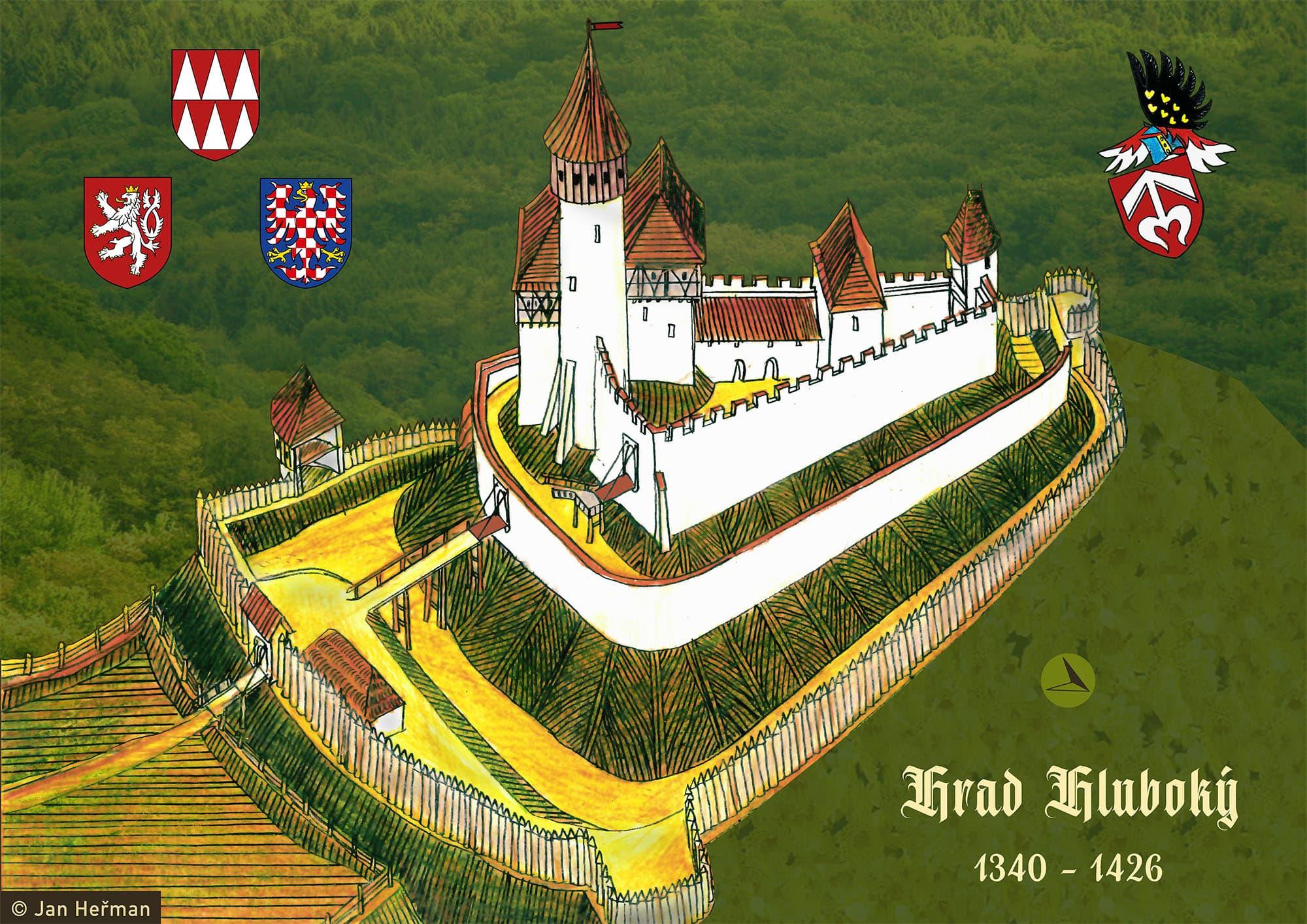 Možná podoba hradu Hluboký podle Jana P. Štěpánka (kresba Jan Heřman)