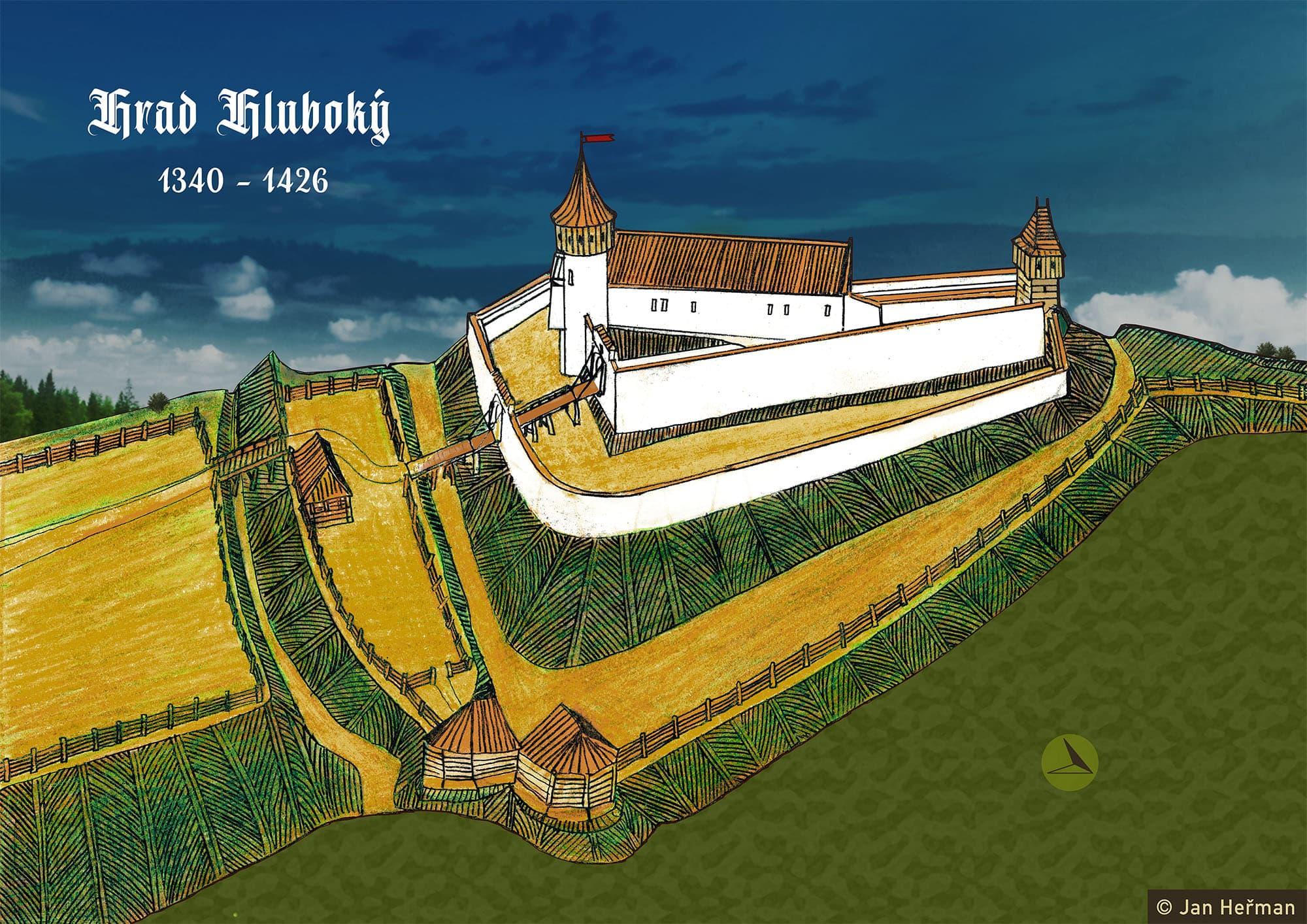 Možná podoba hradu Hluboký podle M. Plačka (kresba Jan Heřman)