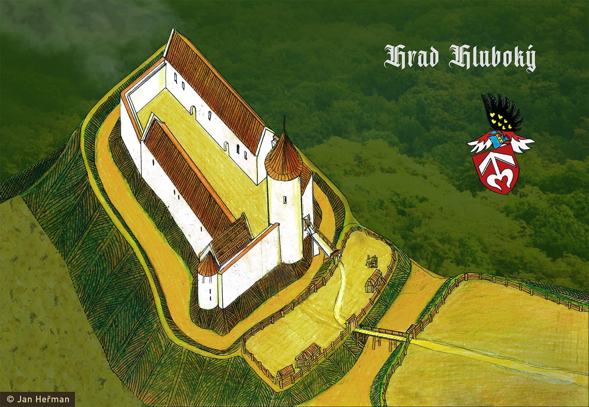 Možná podoba hradu Hluboký podle M. Plačka s erbem pánů z Kravař (kresba Jan Heřman)